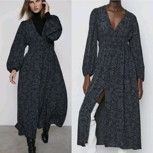 Zara boho A line floral print slit maxi dress